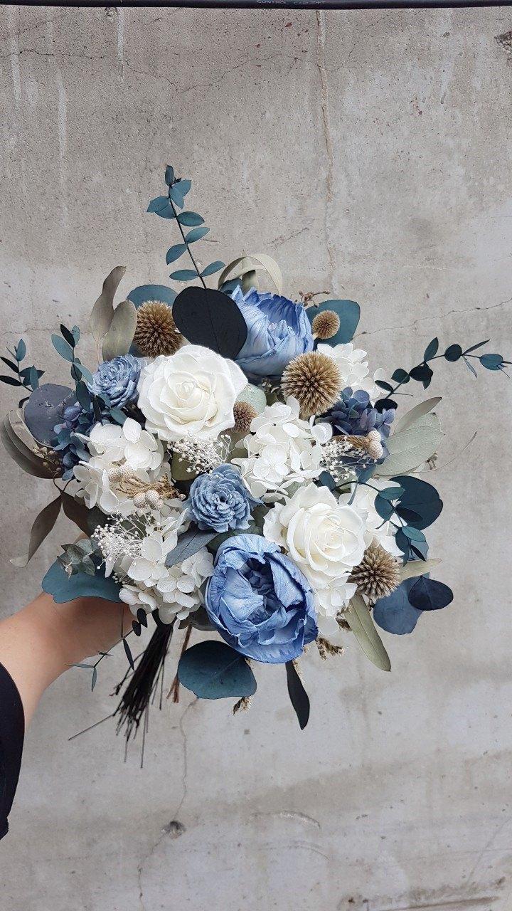 海藏設計| 法式灰藍。優雅星空永生花乾燥花捧花