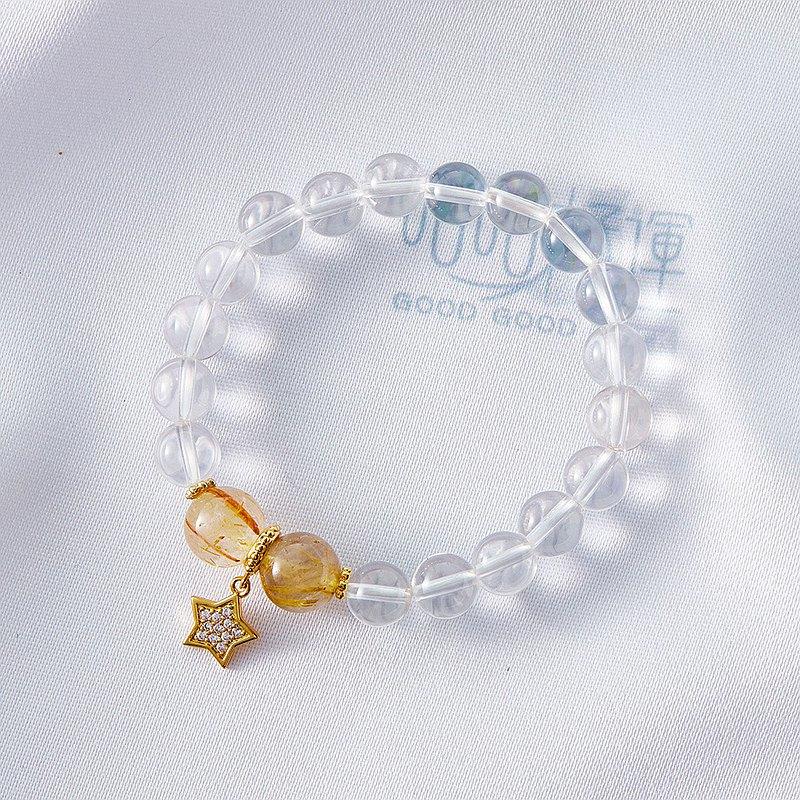 招財轉運S925純銀白水晶星星手鍊(星星款)、(含開光)增強記憶力、淨化磁場、增添正能量、招財