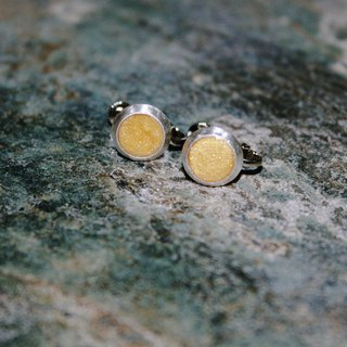 Texture goose yellow sterling silver round clip earrings