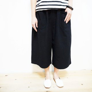 Comfortable cotton cropped wide pants / black