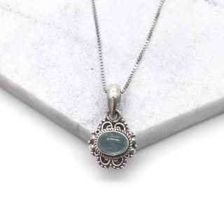 Blue Tourmaline 925 Silver Necklace Nepal Handmade Silver Jewelry
