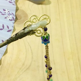 Tung Aya disposed referred decorative pull days, ~} {Nianhua smile engraving bergamot natural emerald glass droplets Czech hairpin brass plug bone Bob hair hairpin
