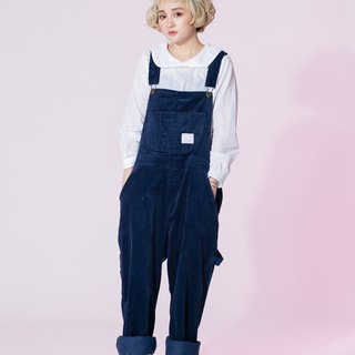 : EMPHASIZE work feeling relaxed corduroy pants suspenders - dark blue