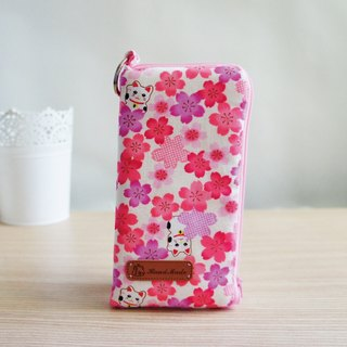 Lovely lucky cat powder cherry phone bag L-shaped zipper double cotton phone bag, 5.5 吋 available E