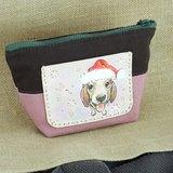 皮革酒袋布收納包-狗狗過聖誕節