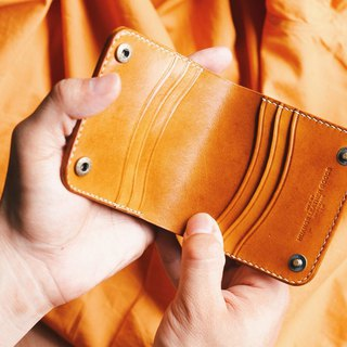 HUANGS 艸一田人European imported vegetable tanned cowhide handmade short clip | Father's Day gift