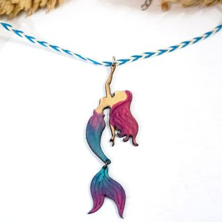 | Leather Jewelry | Ocean dreaming | Mini mermaid necklace |