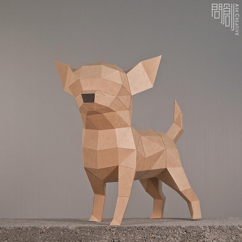 DIY手作3D紙模型擺飾 狗狗系列 -吉娃娃 (4色可選)