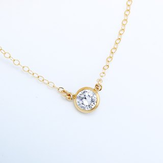 14KGF Gold-filled CZ Single Swiss Diamond Hearts & Arrows Necklace