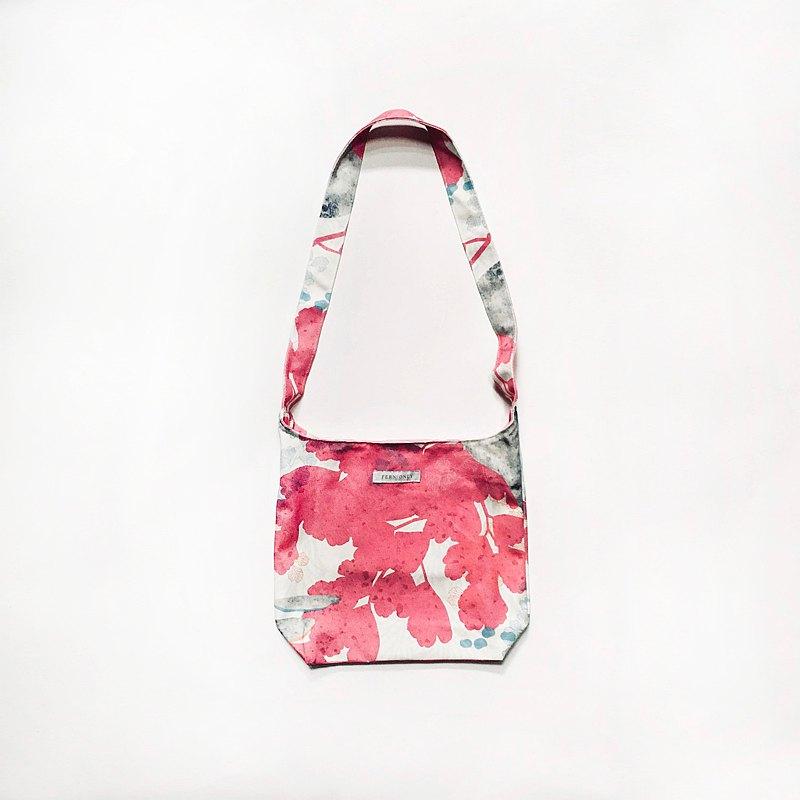 蕨美印花斜背包-鐵線蕨|包包 情人 過年 春節 新年 送禮 粉紅 棉