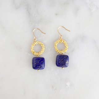 Natural stone ring earrings or earrings [Lapis lazuli]
