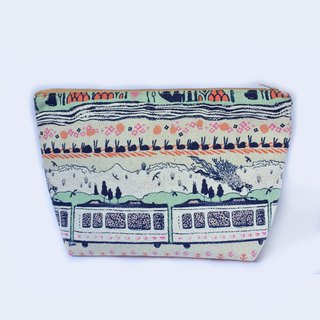 纯棉化妆包/杂物包 Canvas Large Zipper Pouch Clutch - Scenic Train Mountains