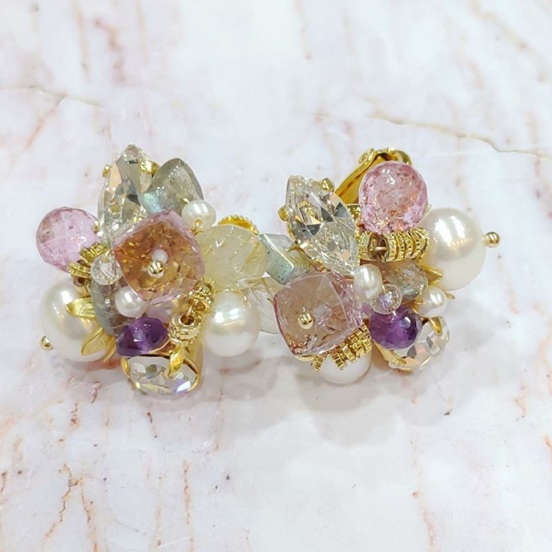 #Limited time 38% -Luce Costante fiore perla earrings (pin / clip) -LCW-1830
