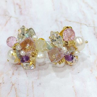 Luce Costante fiore perla Earrings (pin/clip)-LCW-1830