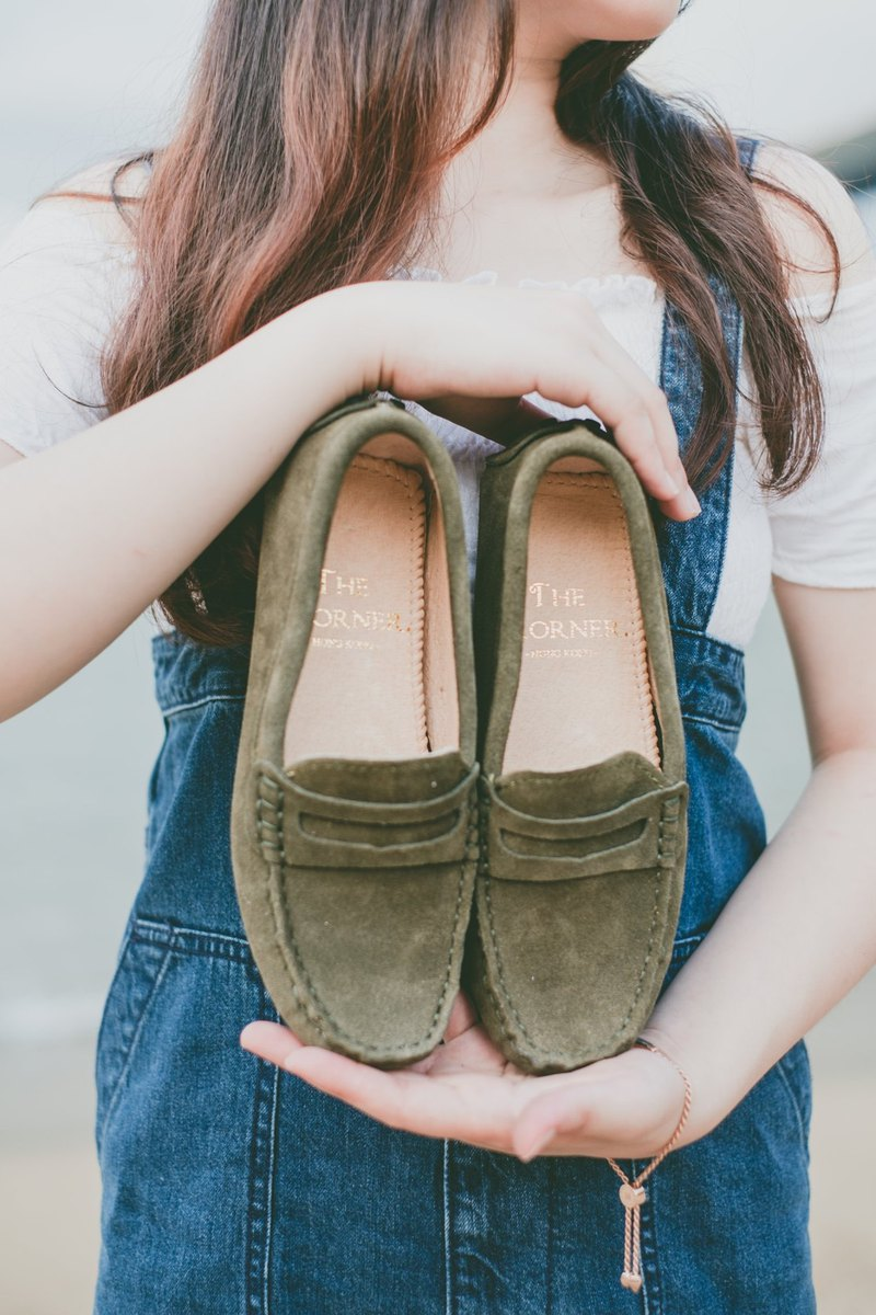 Leather Peas Shoes-Army Green-Word