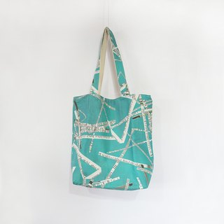 Water blue newspaper double - sided Tote bag only one
