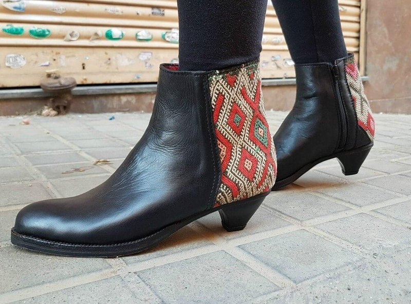 New promotion 35% OFF * Moroccan kilim elegant booties black 38