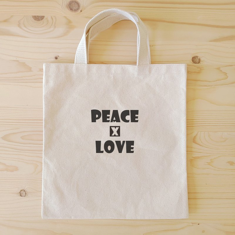 Positive energy flat tote bag / book bag _peace and love