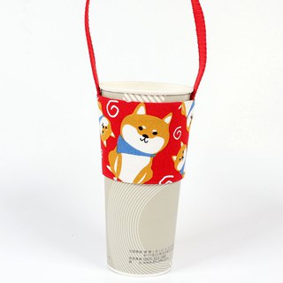 Drink Cup Set Green Cup Sleeve Bag - Shiba Inu (Red)