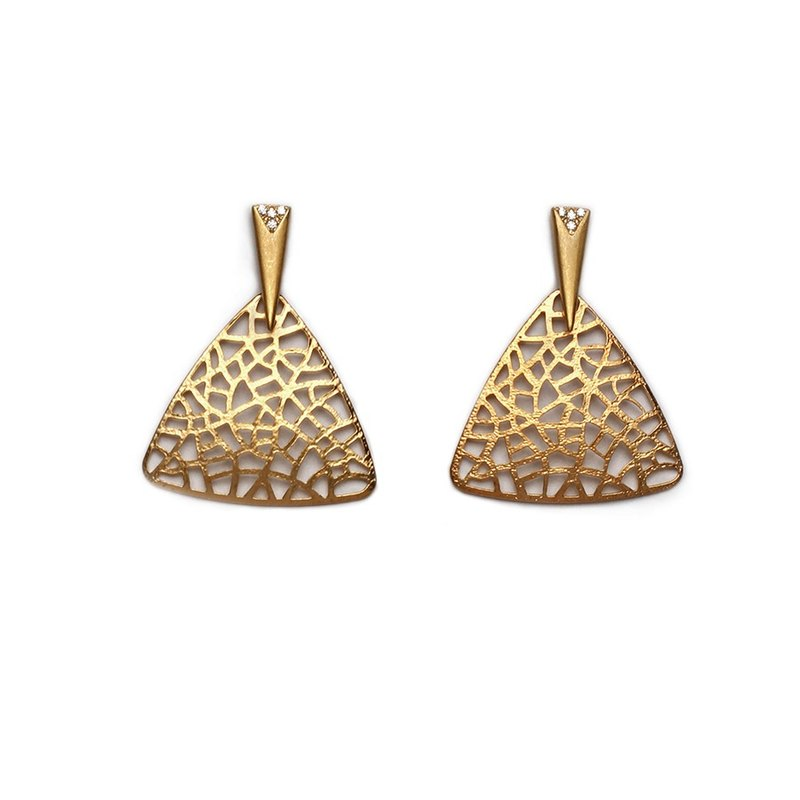 Statement Coralike Earrings - Worn gold and stone
