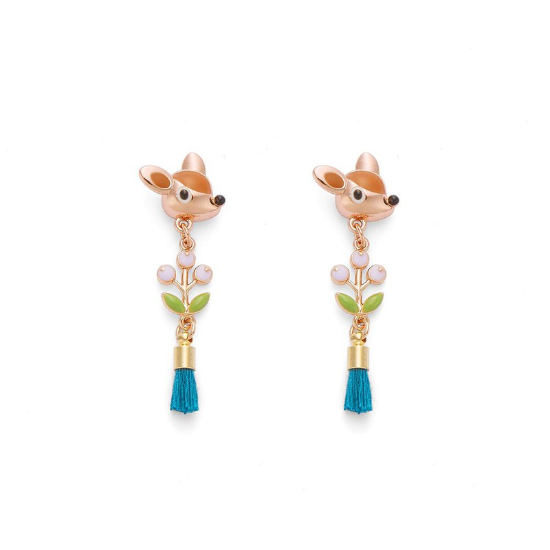 PY Little Deer Than Small Purple Grape Tassel Earrings 16K Rose Gold
