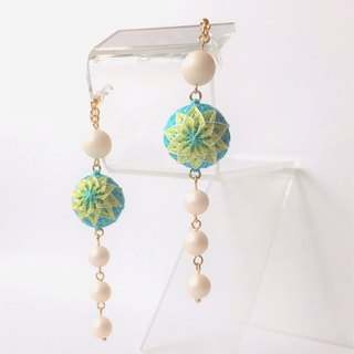 tachibanaya Tiger earrings non-hole earrings pearl light blue yellow
