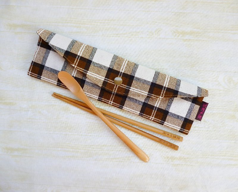 (Limited stiff version) brown lattice lengthened to increase the version of environmental protection tableware package chopsticks set straw bag