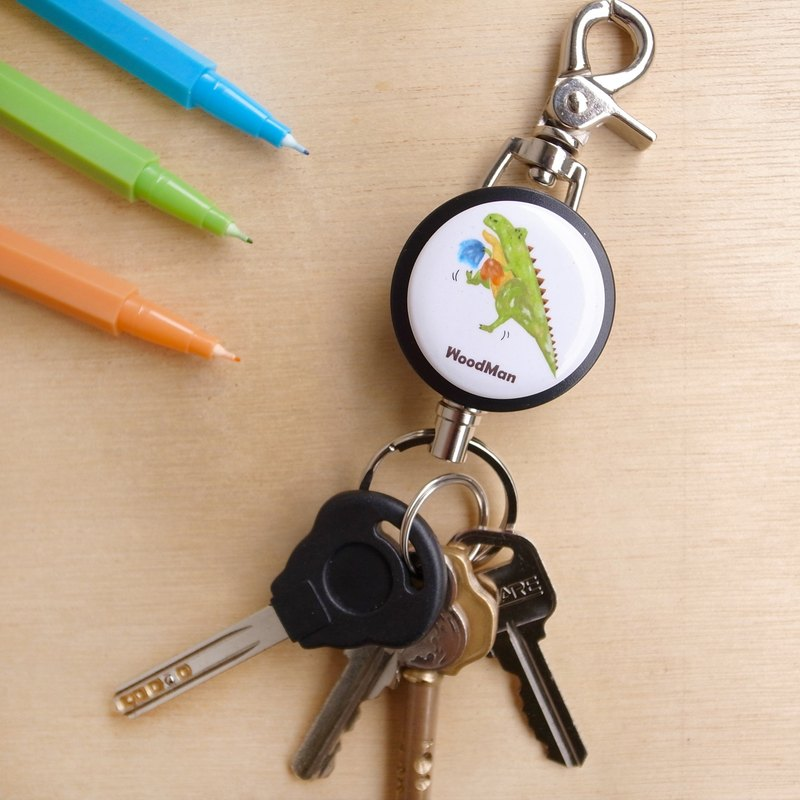 Come on short-handed Tyrannosaurus, steel wire telescopic key ring