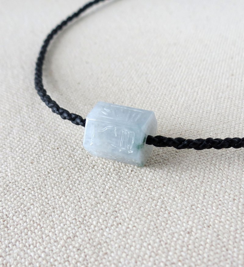 The birth year [six-character big mantra] micro-floating flower jade road road through silk silk wax necklace [four shares]