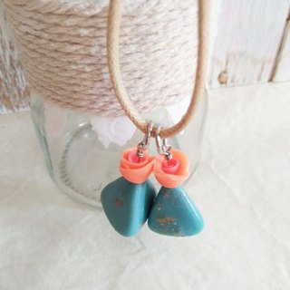 Orange Color, Blue Tribal Earrings, Mixed and Matched, Gift for her