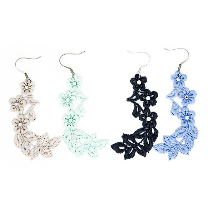 Floral series embroidery lace earring