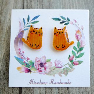 Misssheep-U43-Mini Cat-Orange Cat Hand-Made Cat Earrings (Auricular / Swivel Ear Clips)