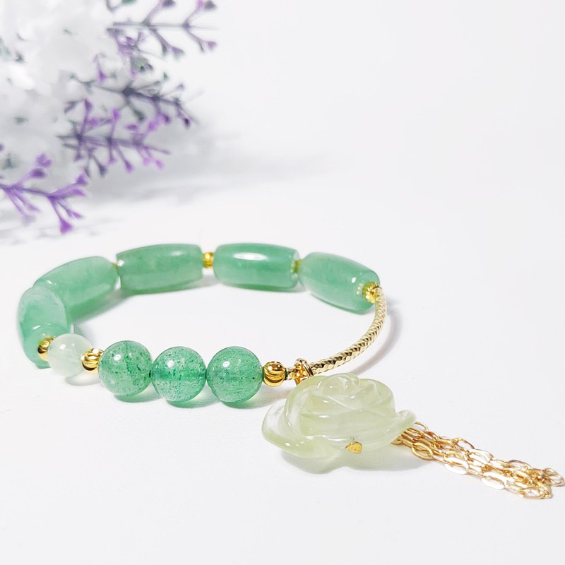Natural grape stone rose diamond dongling jade green strawberry crystal bracelet