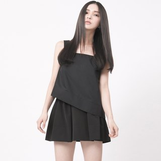 Shoulder strap corner vest Black Square Neckline Tank Top
