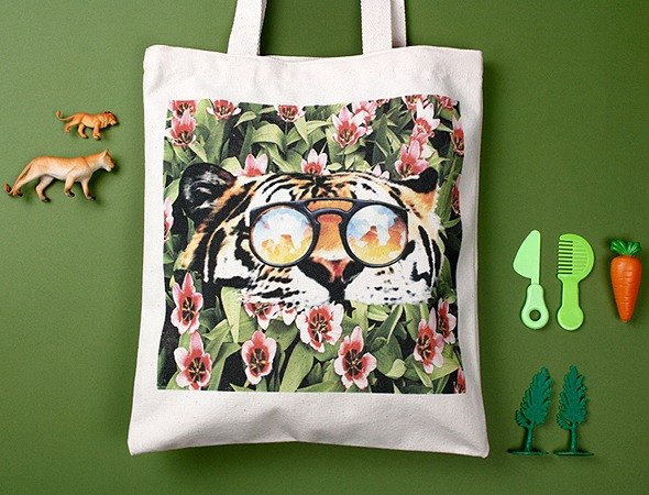 STILL AND CHEW Eco Bag - TIGER OVER FLOWER