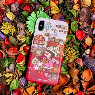 iPhone X Warm Winter Sweet Living Cats Books Warm Floral Plaid Red Hard Shell Phone Case ARIPHX-OL / CR-21-1