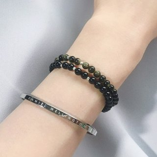 [Ofelia.] Series natural stone - sands natural obsidian x silver fine particles simple Bracelet [J75-Greta] Crystal / natural stone