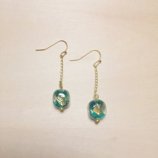 Vintage blue and green rounded square gold and silver foil glass earrings