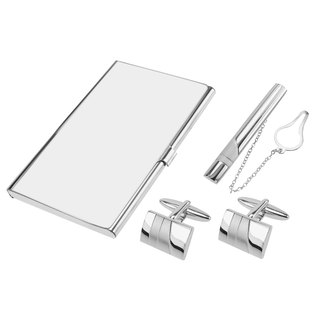 Shiny and Brush Silver Cufflinks Tie Clip and Card Holder Set