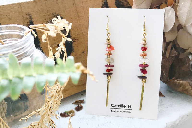 Dangle earrings ear clip ear clip natural stone leather brass summer summer cool refreshing