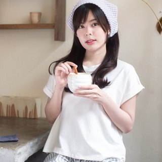 Basic T-shirt (Short sleeved)-Cream