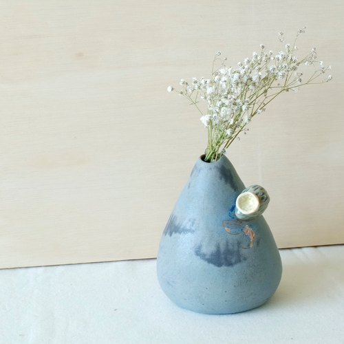 Gray blue small fruit   home decoration / vase     Hand made&Limited Edition