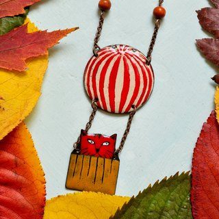 Enamel Necklace, Cat Necklace, Red Cat, Cat Pendant, Air Balloon, Cat With Air Balloon, Boho Necklace, Cat Jewelry, Air Ballon Necklace, Cats,