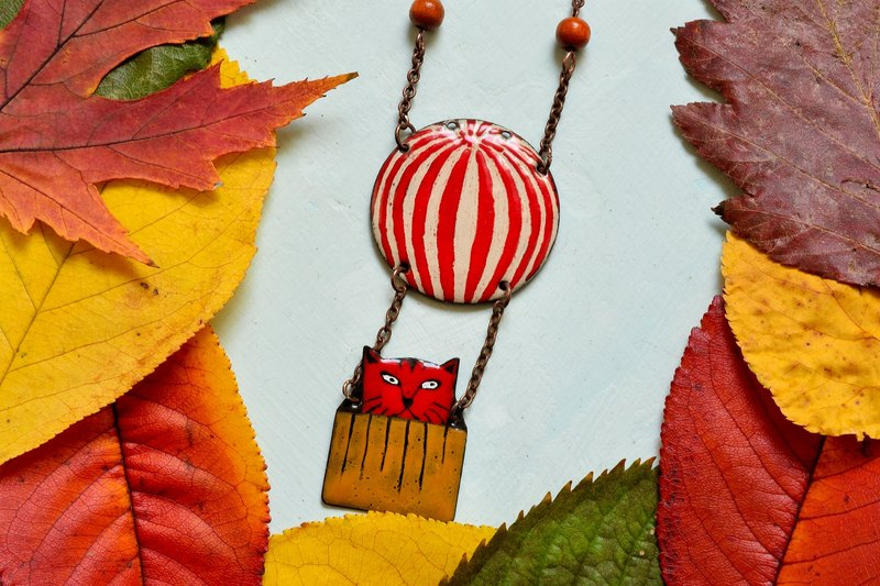 Enamel Necklace, Cat Necklace, Red Cat, Cat Pendant, Hot Air Balloon,