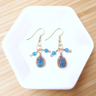 The melody of Autumn Sky Blue romantic handmade gemstone drop earrings