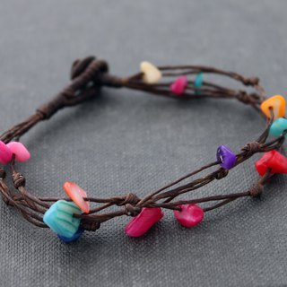 Woven Bracelets Dyed Pearl Free Form Simple Strand Bracelets Knotted Friendship