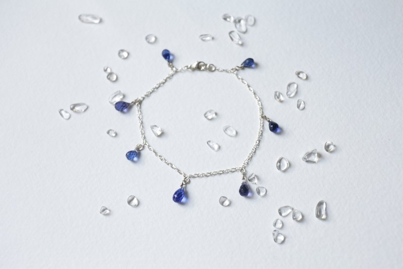 Water Drop Cut Surface Natural Blue Crystal 925 Sterling Silver Bracelet Crystal Flash American Made Parts