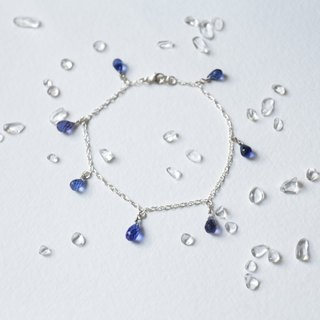 Water droplets cut natural blue crystal 925 sterling silver bracelet crystal flash shop so sterling silver parts made by the United States, very high quality.