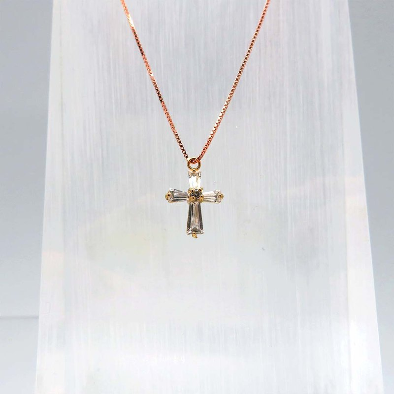 Cross Necklace 18K Gold Filled Solid Copper Cross Rose Gold Plated Silver Chain