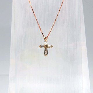 Silver Cross Clavicle Necklace 18K Gold Filled Pendant Rose Gold Plated Chain